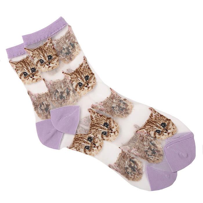 猫柄の靴下「ヌネット柄 シアーソックス」 by PAUL & JOE ACCESSOIRES