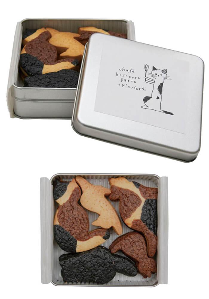 ukafe(ウカフェ)の三毛猫クッキー、商品パッケージ&商品イメージ