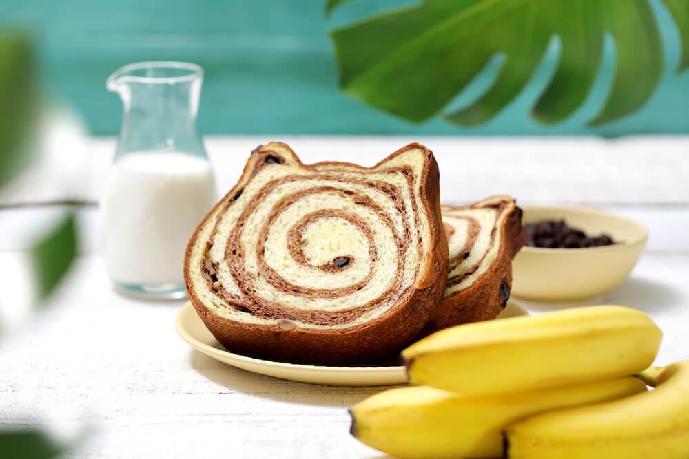「ねこねこ食パン〜トロピカルチョコバナナ〜」の盛り付けイメージ