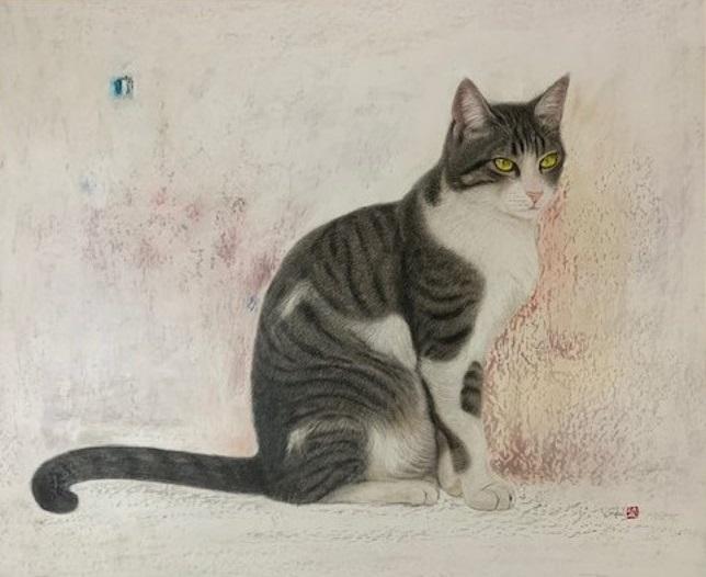 画家・市来功成の描いたキジ白猫の絵画、作品タイトル「君のゆめは僕の夢」