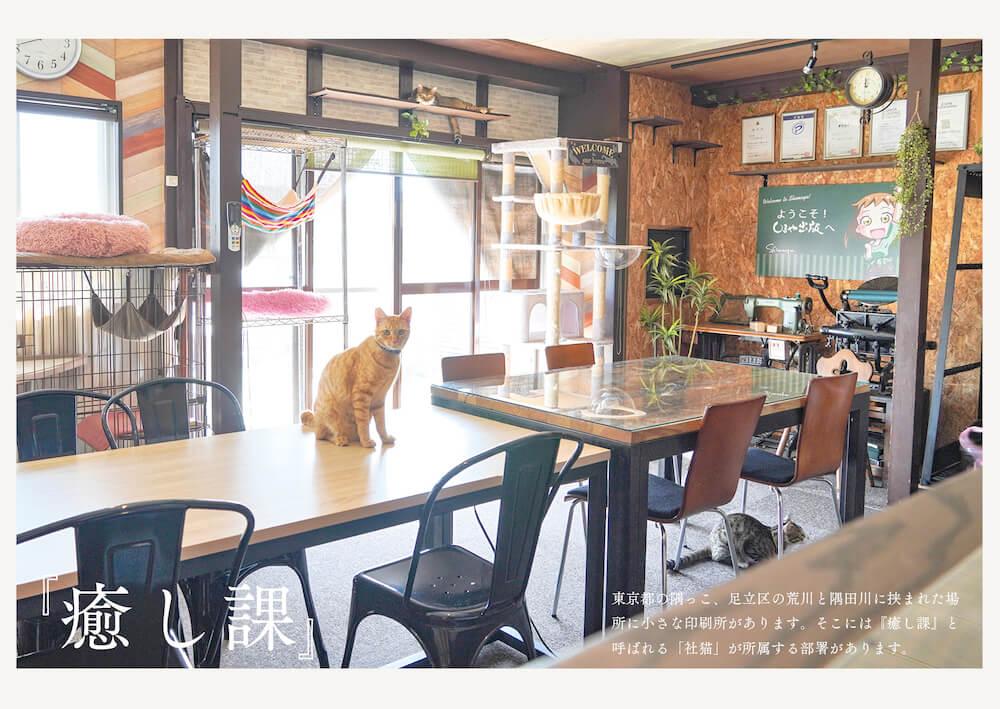 猫を飼っている印刷会社しまや出版「癒し課」のオフィス内イメージ