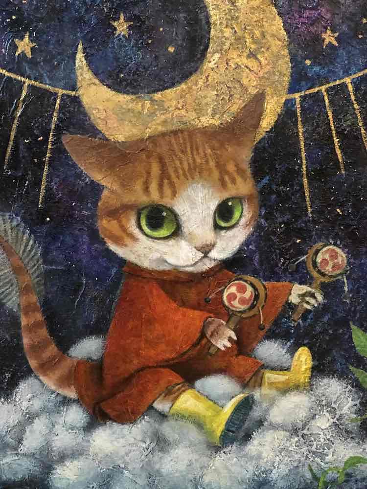 猫の絵画作品名「あまよろこび」、作者:赤綿