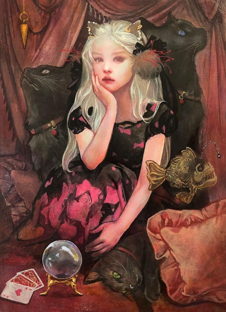 猫の絵画作品名「黒猫魔術団」、作者:川邊りえ