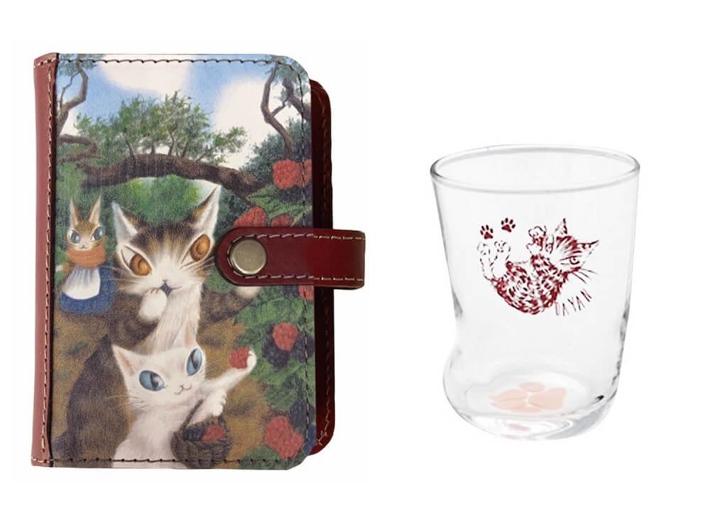 猫のダヤン アートカードケース&猫足グラス