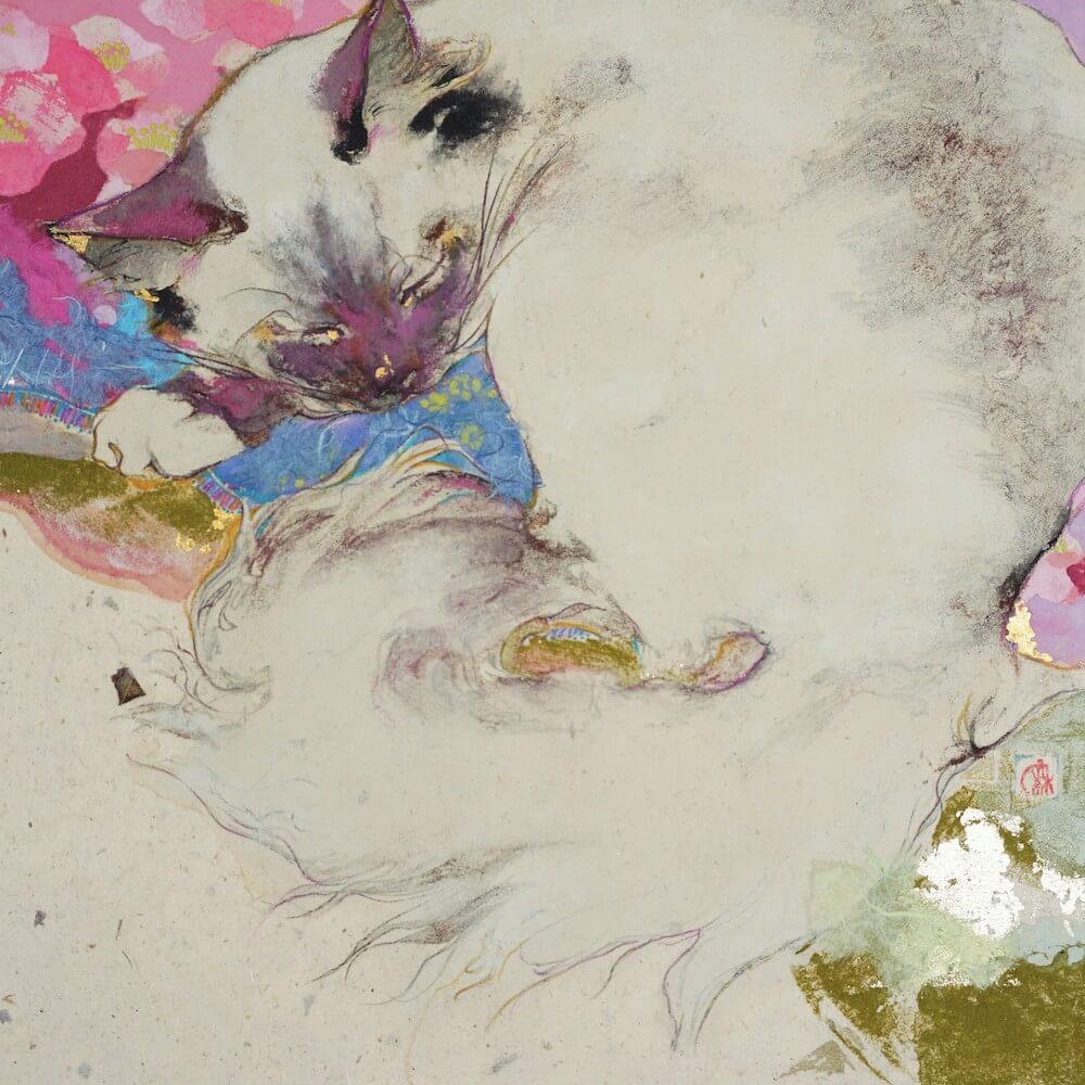 猫の絵画作品名「おひるね」、作者:川口麻里亜