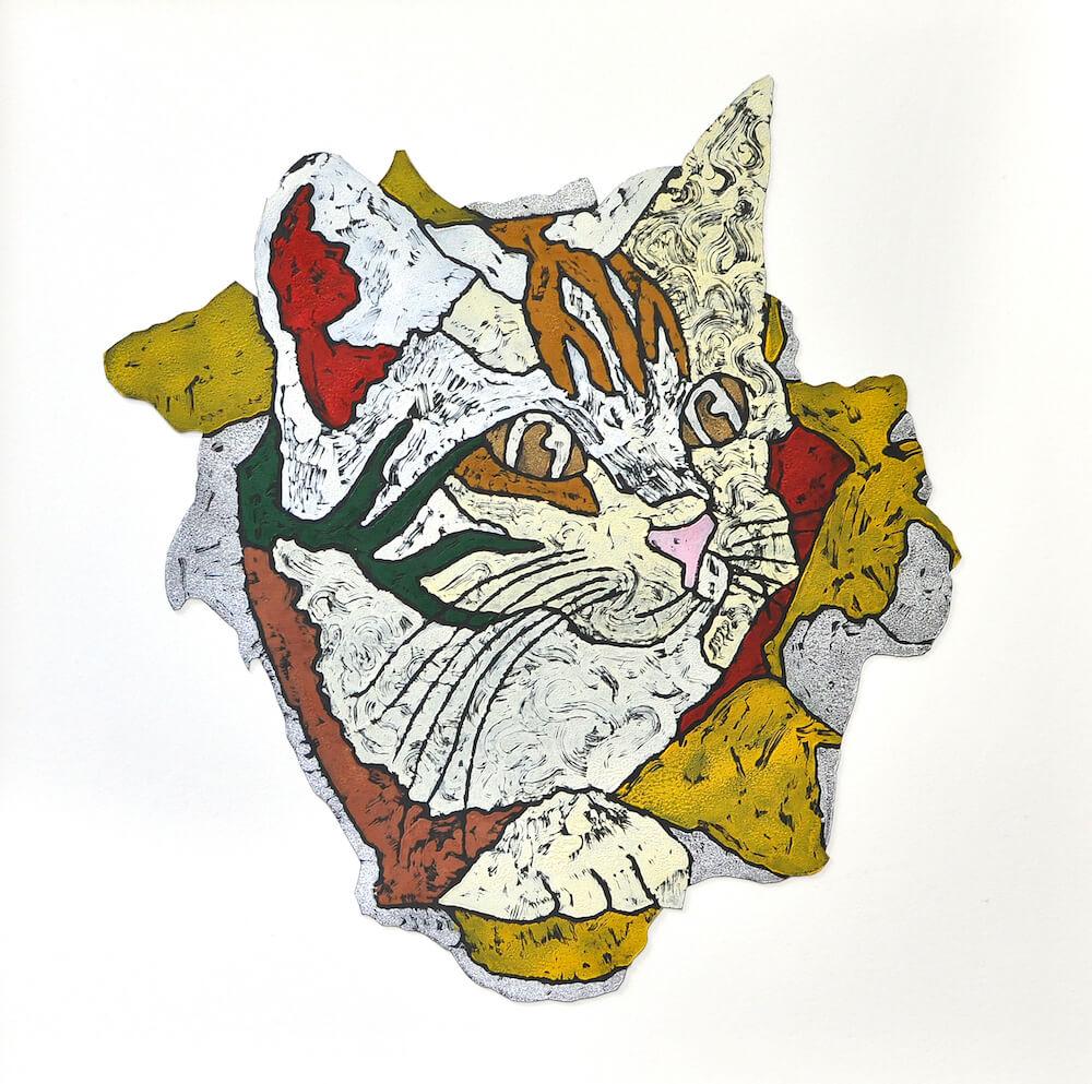 猫の絵画作品名「いたずら」、作者:北嶋勇佑