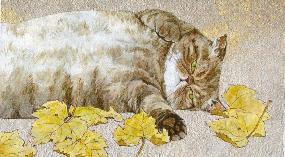 猫の絵画作品名「幼猫寝転図」、作者:保坂有美
