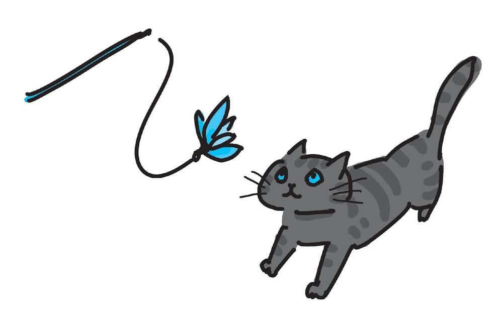 猫と遊ぶイラスト「猫にいいこと大全」