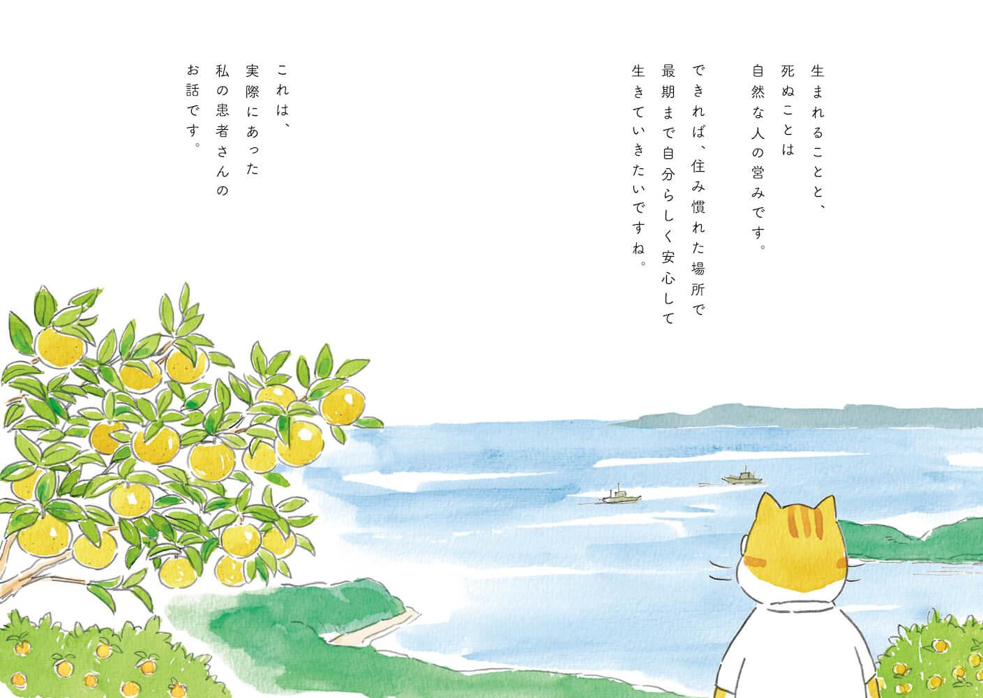 書籍『ねこマンガ 在宅医たんぽぽ先生物語 さいごはおうちで』冒頭シーン