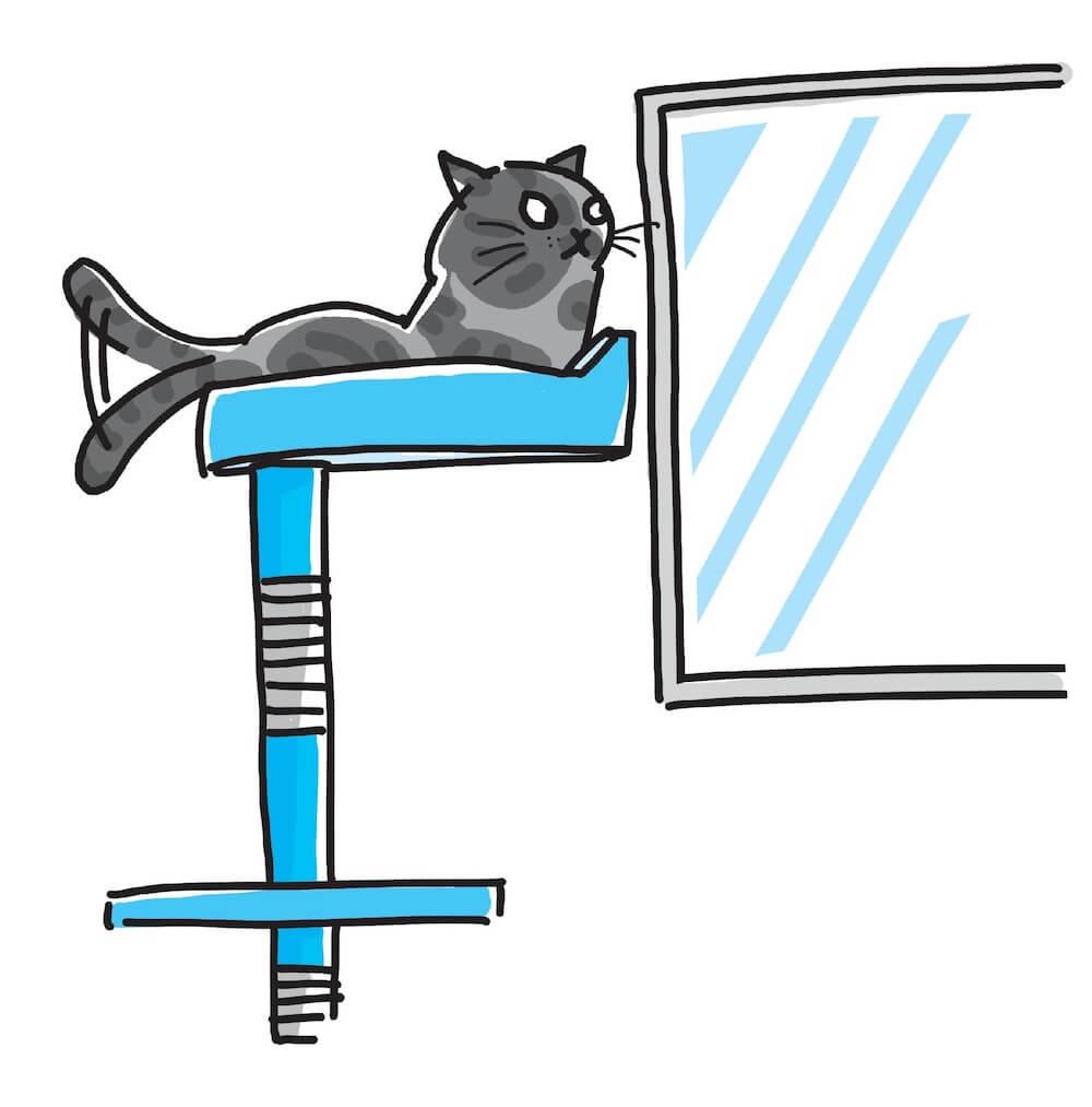 キャットタワーから窓の外を眺める猫のイラスト「猫にいいこと大全」