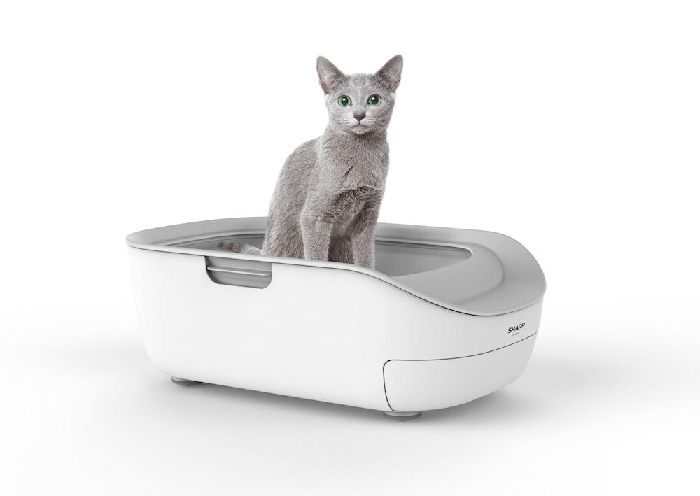 シャープの猫用システムトイレ「ペットケアモニター」製品使用イメージ