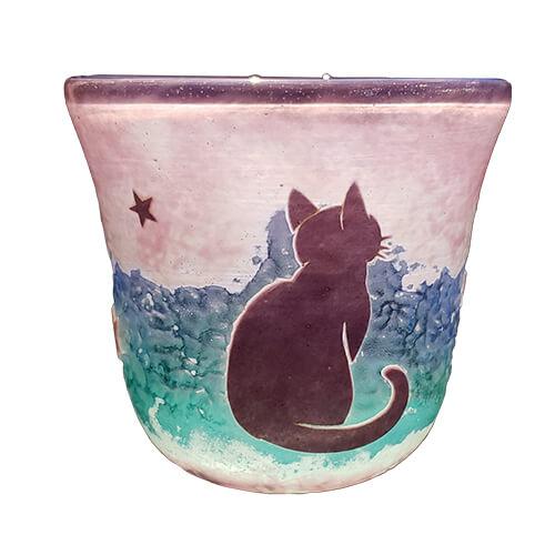 猫をモチーフにしたぐい呑み「猫と星柄吹き5色使い4層ぐい呑み」 by グラスアート・アン