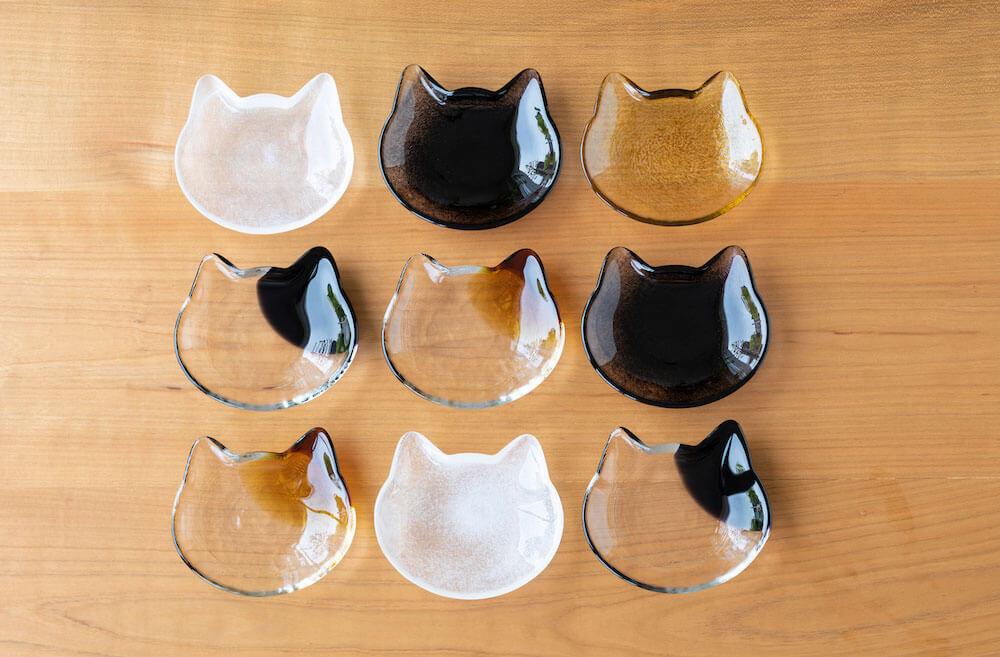 猫顔デザインの小皿「ここねこクラフト 小皿」デザインバリエーション