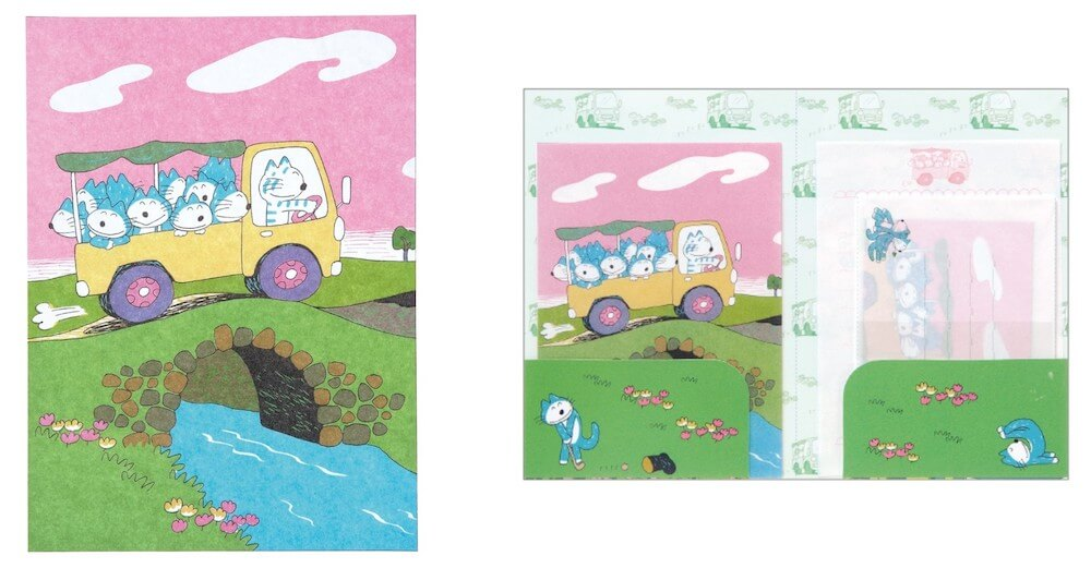 絵本「11ぴきのねこ」ステーショナリーグッズ「レターセット(トラックデザイン)」製品イメージ