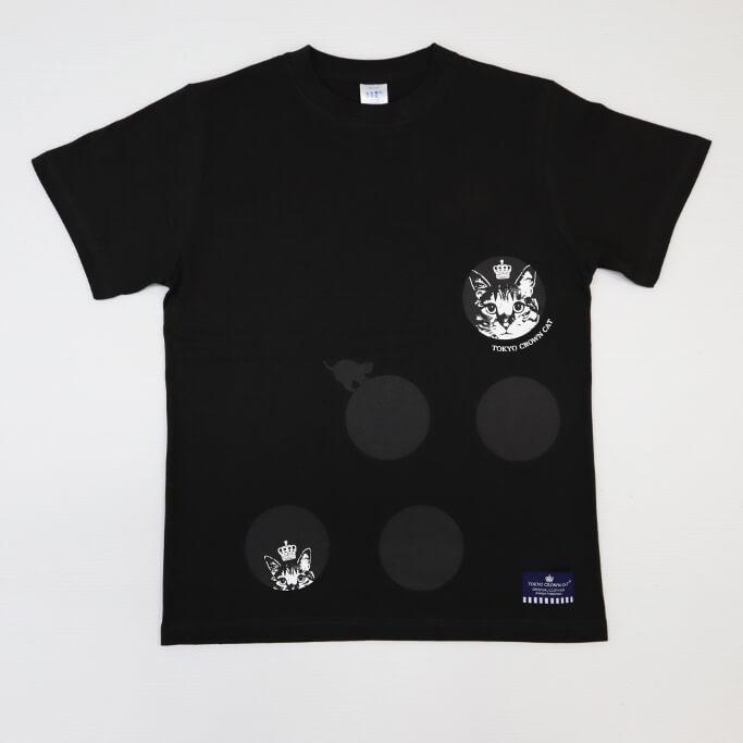 ドット(水玉)柄の猫デザインTシャツ by TOKYO CROWN CAT