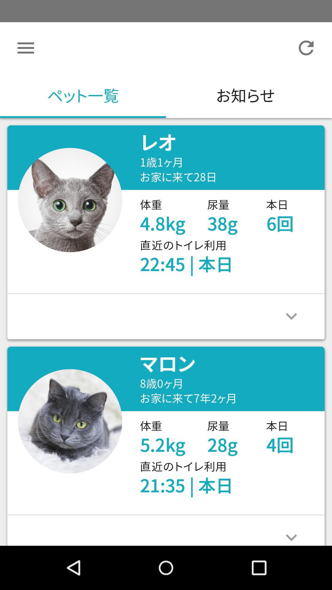 猫トイレ「ペットケアモニター」に追加された体重識別モードのアプリ画面イメージ