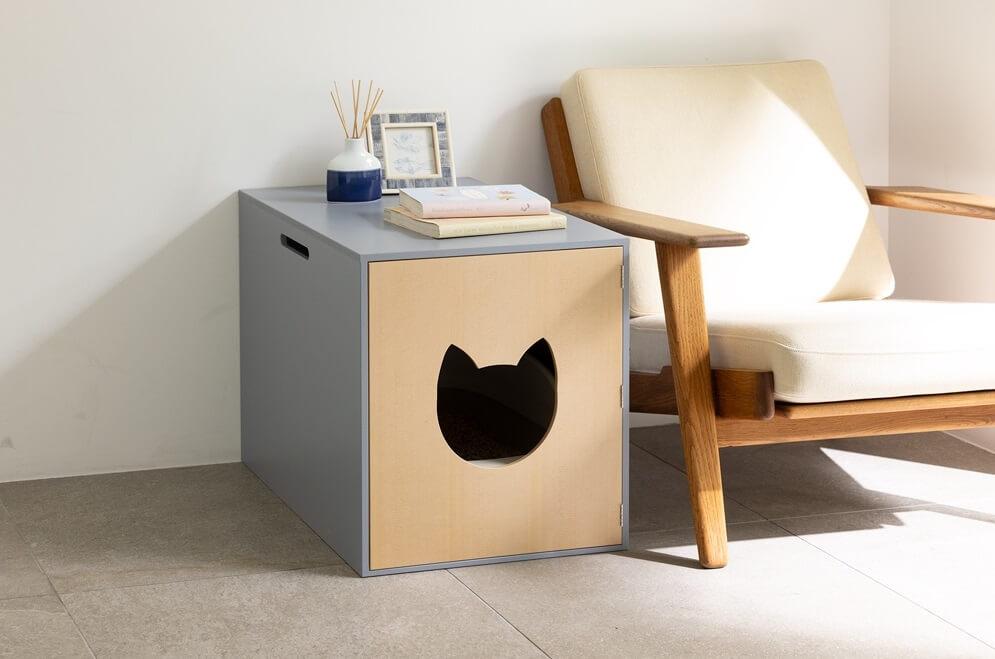 猫用トイレをお洒落に収納できるソファサイドテーブル「ネコのトイレ収納カバー」製品イメージ by ディノス