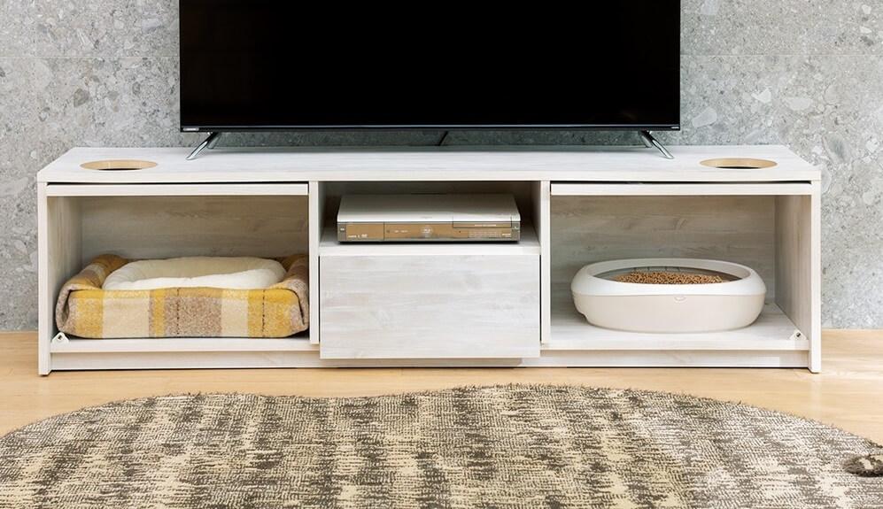 猫ベッドや猫トイレを収納して目隠しできるテレビ台「猫トイレを目隠しできる!ネコのくつろぎスペース付きテレビ台」製品イメージ by ディノス