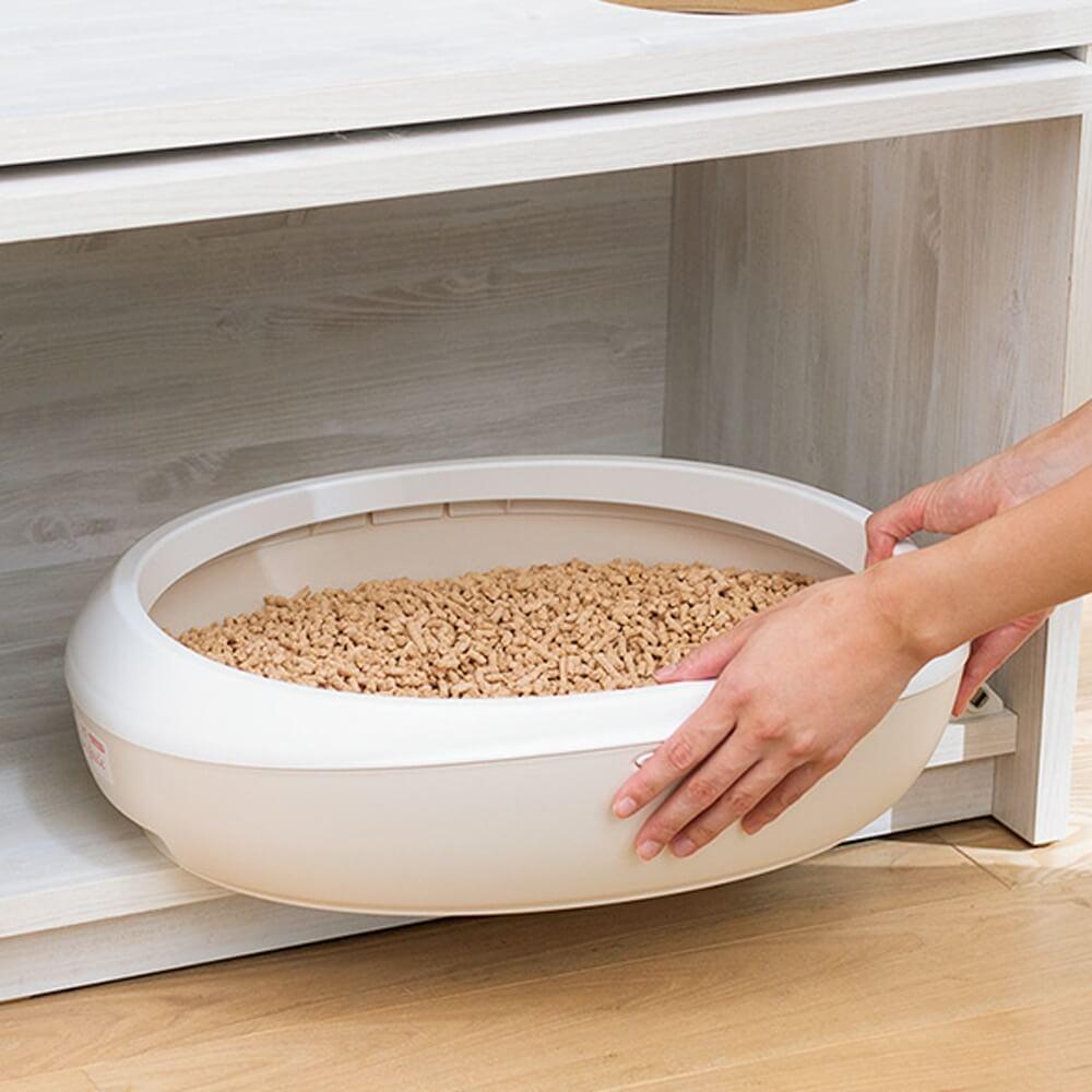「猫トイレを目隠しできる!ネコのくつろぎスペース付きテレビ台」に猫トイレを収納するイメージ