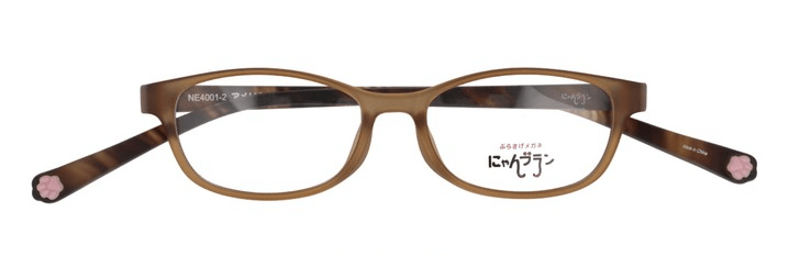 テンプル部分に肉球が付いた猫モチーフの眼鏡「にゃんブラン」製品イメージ by メガネの愛眼