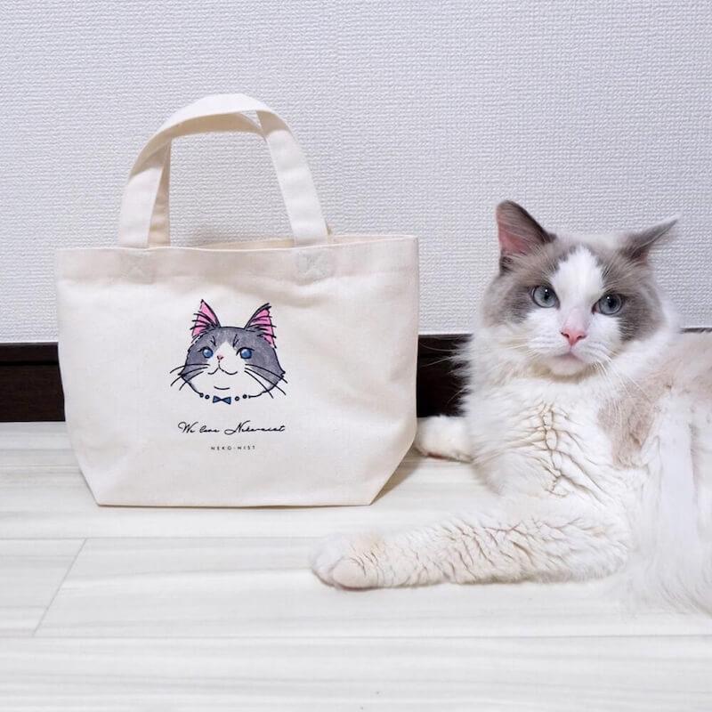 色を塗って愛猫そっくりに仕上げられる「塗り絵ミニトートバッグ」