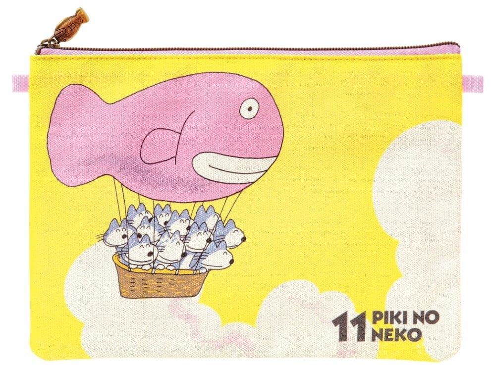 絵本「11ぴきのねこ」ステーショナリーグッズ「フラットポーチ(気球)」製品イメージ