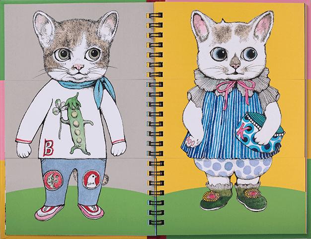 ヒグチユウコさんが描いた猫の絵で着せ替えを楽しめる仕掛け絵本『ファッションマジック』の中面イメージ