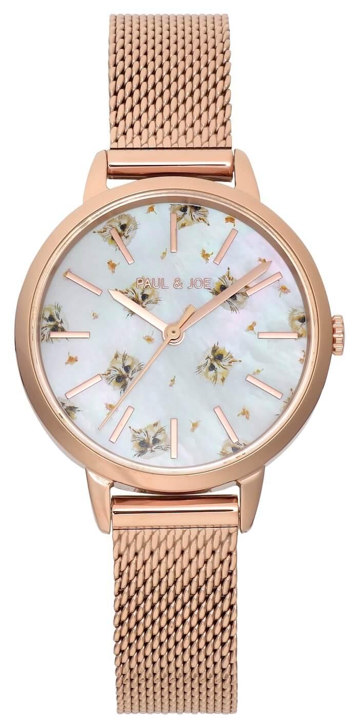 猫のGipsy(ジプシー)柄の腕時計 ホワイトダイヤル×ピンクゴールドケース by ポールアンドジョー