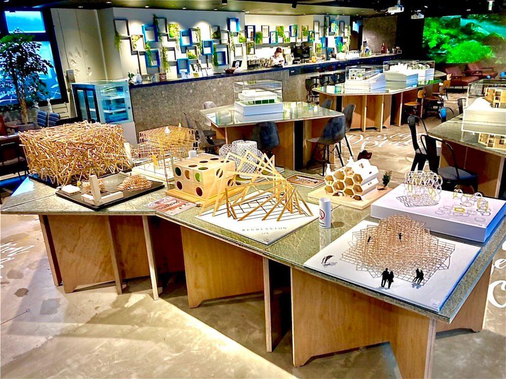 アーキテクチャカフェ棲家が主催する「第2回建築模型コンテスト」応募作品の展示風景