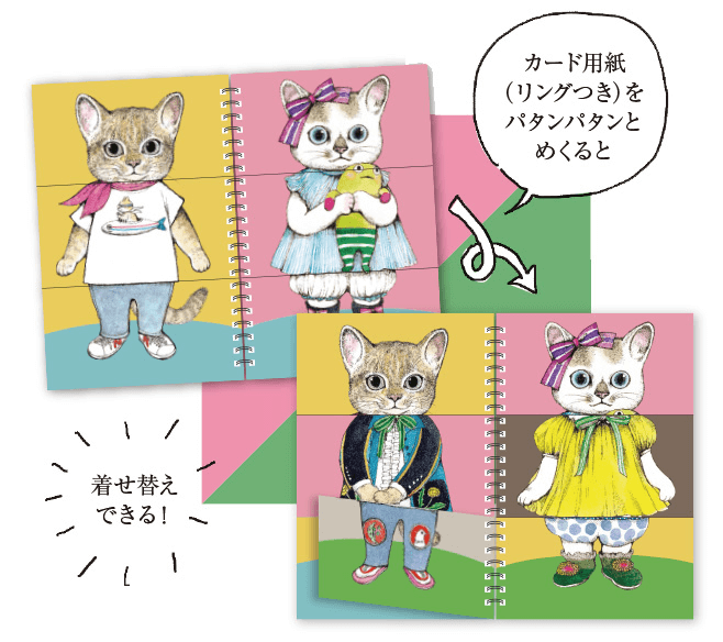 絵本『ファッションマジック』をめくって猫の着せかえをするイメージ