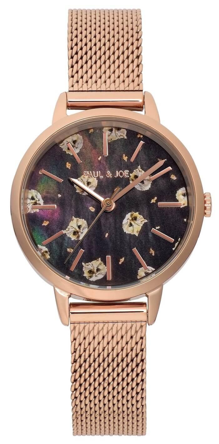 猫のGipsy(ジプシー)柄の腕時計「BLUE EYE CAT - Gipsy」ブラックダイヤル×ピンクゴールドケース by ポールアンドジョー