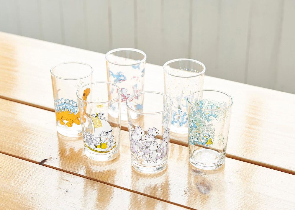 「11ぴきのねこ」のイラスト入りグラス全6種類