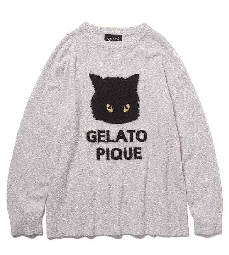 黒猫がプリントされたニット「クロネコジャガードプルオーバ」 by ジェラートピケ