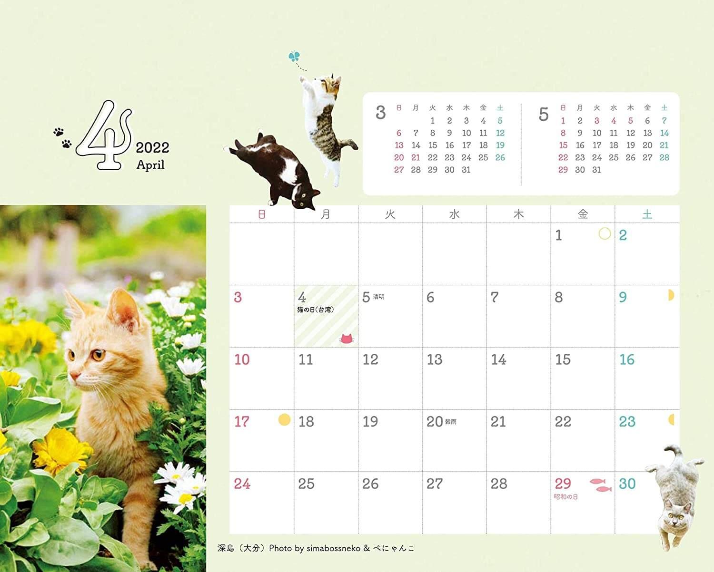世界の猫の記念日が記載されている『にゃっぷる 旅するねこカレンダー2022 卓上版』
