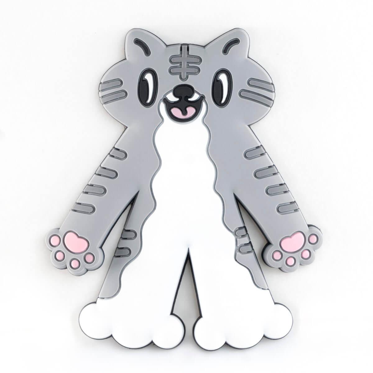 カプセルトイの猫型ラバーフック「PERAPERA CATS(ペラペラキャッツ)」サバトラデザインバージョン