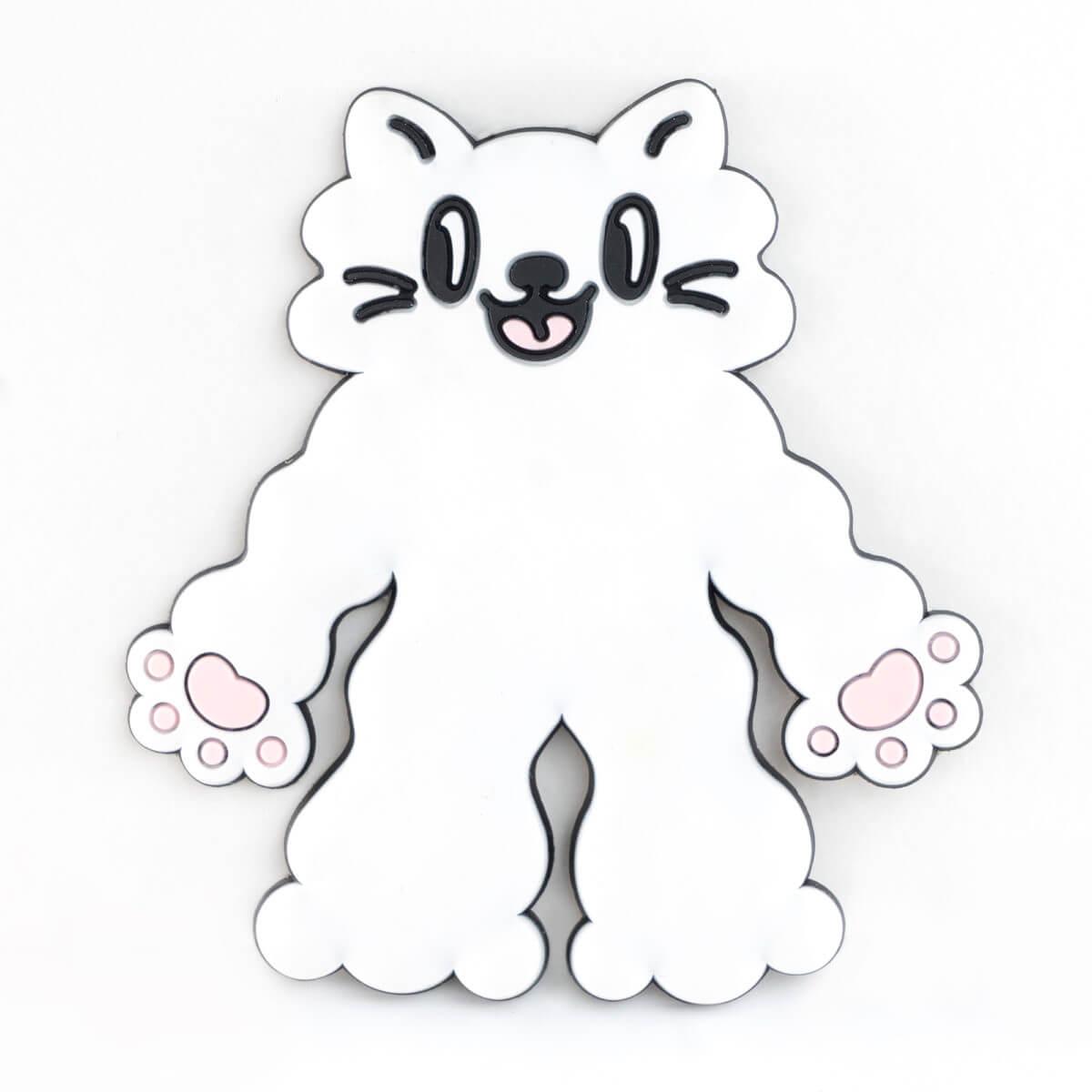 カプセルトイの猫型ラバーフック「PERAPERA CATS(ペラペラキャッツ)」もこもこ白猫デザインバージョン