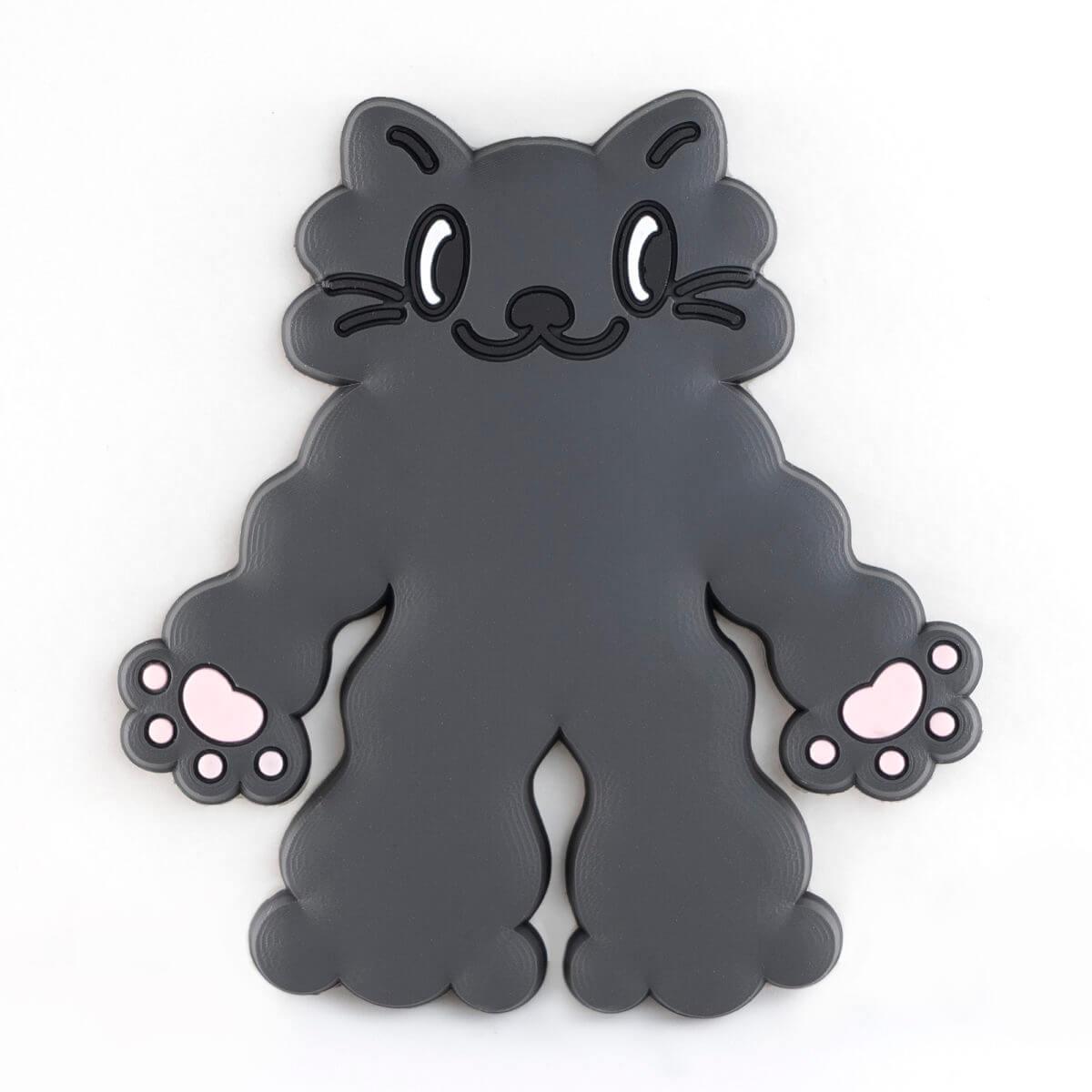 カプセルトイの猫型ラバーフック「PERAPERA CATS(ペラペラキャッツ)」もこもこ黒猫デザインバージョン