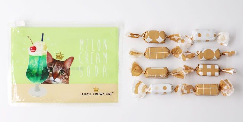 猫デザインのスライダーポーチ&クリームソーダキャラメル