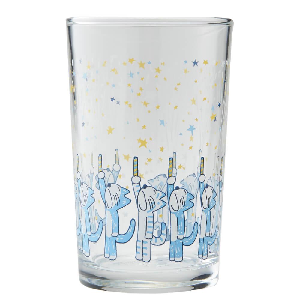 「11ぴきのねことへんなねこ」のイラストがデザインされたグラス