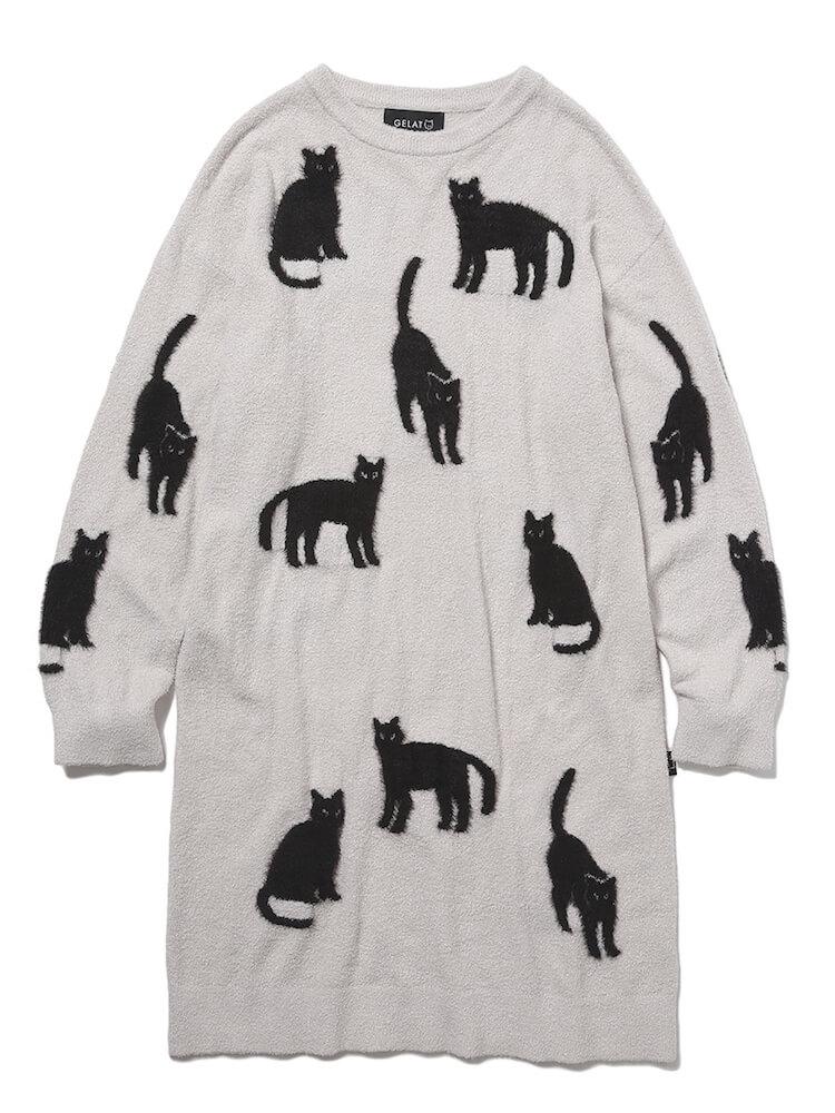 黒猫シルエットがデザインされたニットドレス「クロネコジャガードドレス」 by ジェラートピケ
