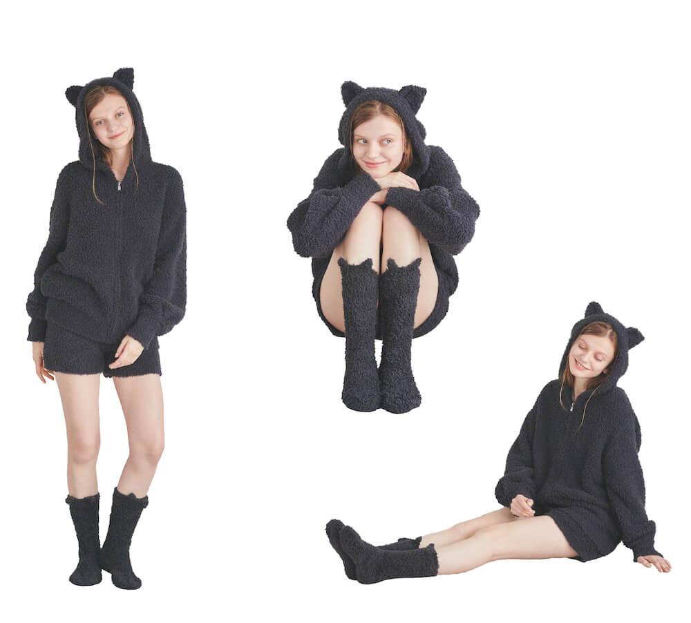 黒猫になりきれる猫耳付きニットシリーズのコーディネート例 by ジェラートピケ