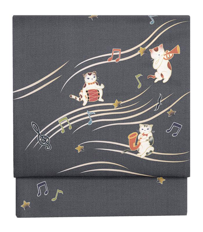 楽器を演奏している猫&音符が散りばめられた京袋帯「楽器猫:藤鼠」製品イメージ