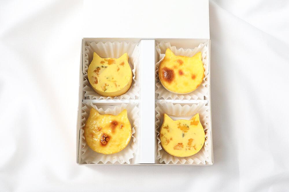猫型バスク風チーズケーキの新商品「にゃんチーかぼちゃ」とプレーンのセット商品イメージ