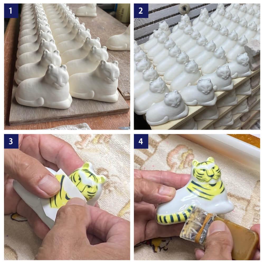 虎の置物「にっぽんのとら」の製造工程