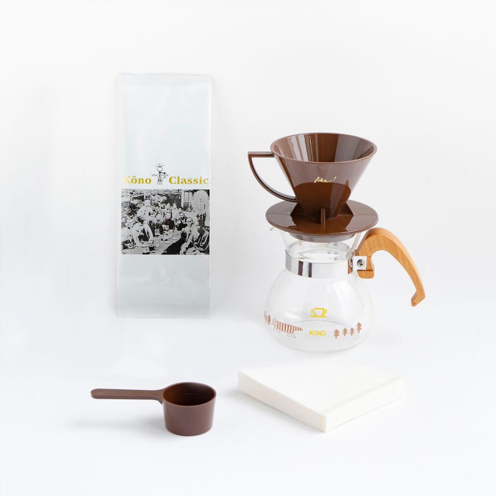 珈琲サイフォンとリサ・ラーソンのコラボ商品「KONO式コーヒードリッパーセット」セット内容