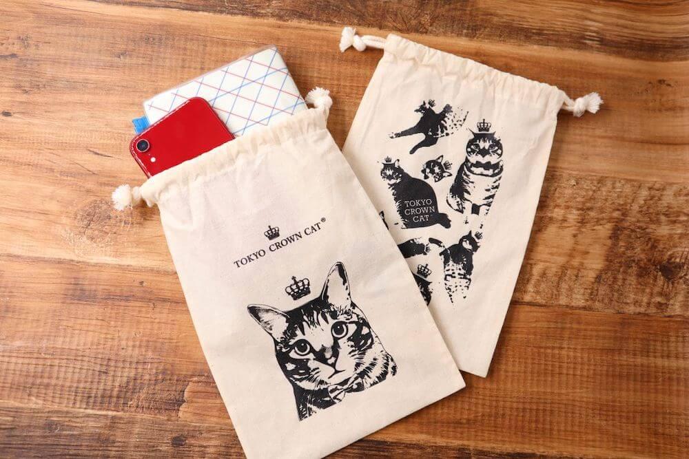 TOKYO CROWN CATのロングフィナンシェ3本入りに付属する巾着袋