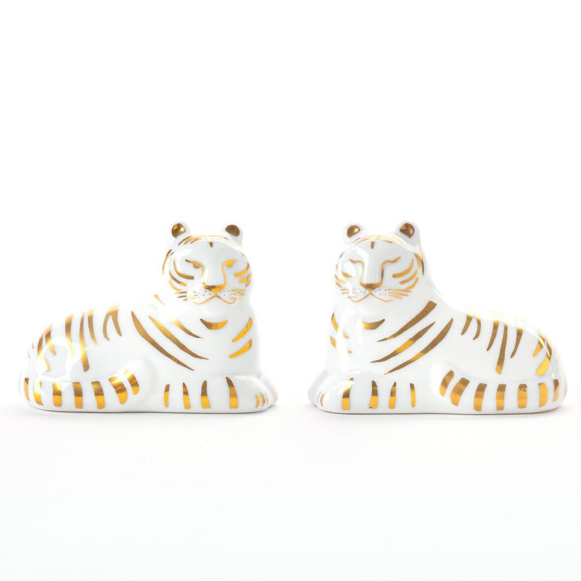金色の虎の置物「にっぽんのとらセット(きらり)」 by リサ・ラーソン