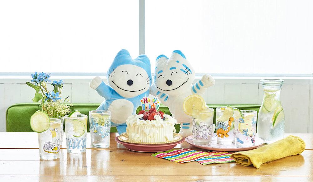 「11ぴきのねこ」のイラスト入りグラス全6種類を使って誕生日会をするイメージ