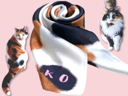 好みの猫と一緒にリンクコーデを楽しめる!茶トラ・三毛猫・ハチワレ柄のスカーフが登場