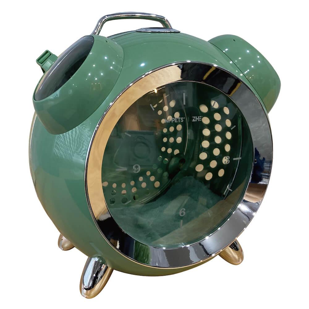 目覚まし時計型のペット用リュックキャリー「カプセルペット」グリーンカラー